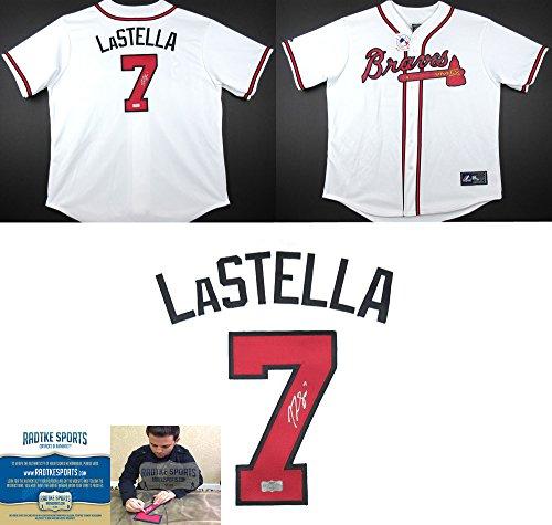 Tommy La Stella Autographed/Signed Atlanta Braves Majestic White Home MLB Jersey-0