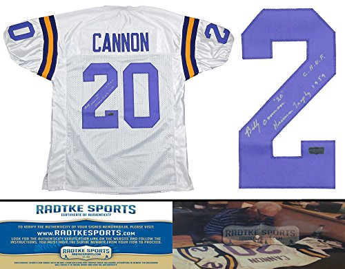 """Billy Cannon Autographed/Signed LSU Tigers Throwback Style Custom Jersey with """"Heisman Trophy 1959 - CHOF"""" Inscription - Silver-0"""