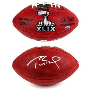 Tom Brady Autographed/Signed New England Patriots Wilson Authentic Super Bowl 49 NFL Football - Tristar-0