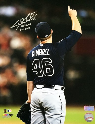 Craig Kimbrel Autographed/Signed Atlanta Braves 16X20 Record 155 Saves 6-6-2014-0