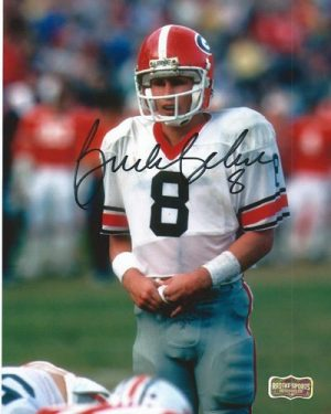 Buck Belue Autographed/Signed Vintage Georgia Bulldogs 8x10 NCAA Photo White Jersey Black Ink-0