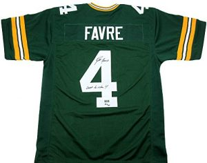 "Brett Favre Autographed/Signed Green Bay Packers Custom Home NFL Jersey with ""Last to Wear 4"" Inscription - LE of 44-0"
