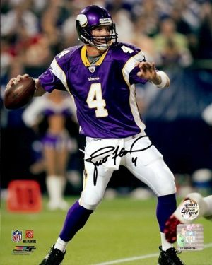 "Brett Favre Autographed/Signed Minnesota Vikings 16X20 NFL Photo #1 ""Throwing""-0"
