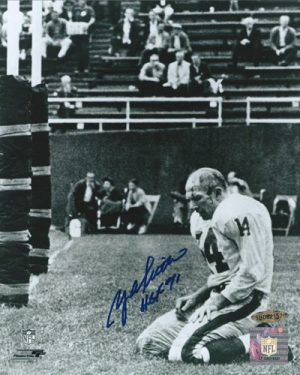Y.A. Tittle Autographed/Signed New York Giants 8x10 NFL Photo with HOF 71 Inscription UDA-0
