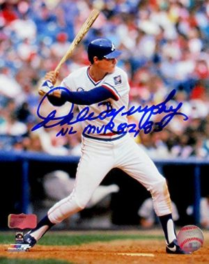 "Dale Murphy Autographed/Signed Atlanta Braves Throwback Chief Nocahoma Jersey 8x10 MLB Licensed Photo with ""NL MVP 82, 83"" Inscription-0"