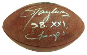 Lawrence Taylor Signed Authentic Wilson Super Bowl 21 Football SB XXI Champs-0