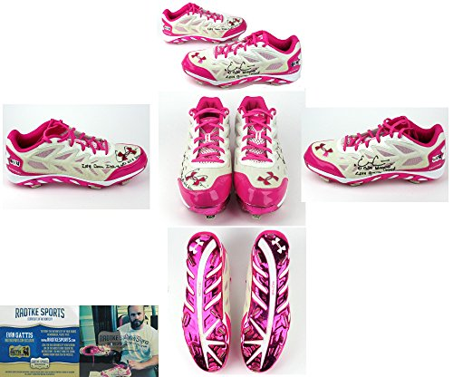Evan Gattis Autographed/Signed Game Issued Pink Mothers Day Under Armor Cleats-0