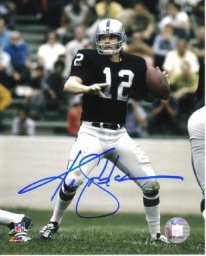 """Ken Stabler Autographed/Signed Oakland Raiders 8x10 NFL Photo """"Throwing""""-0"""