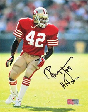 """Ronnie Lott Autographed/Signed San Francisco 49ers Iconic 8x10 Color NFL Photo with """"Hitman"""" Inscription-0"""