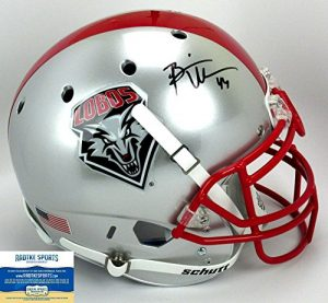 Brian Urlacher Autographed/Signed New Mexico Lobos Schutt Authentic NCAA Helmet-0