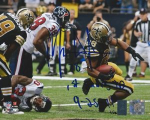 Mark Ingram Autographed/Signed New Orleans Saints 8x10 NFL Photo with 1st Saints TD Inscription LE of 28-0