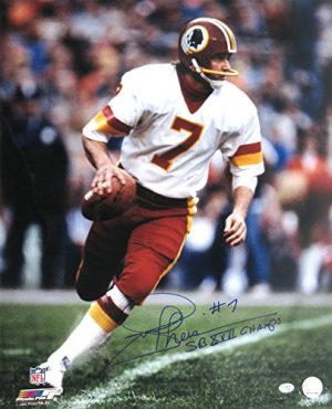 "Joe Theismann Autographed/Signed Washington Redskins Vintage Action NFL Photo with ""SB XVII Champs"" Inscription-0"