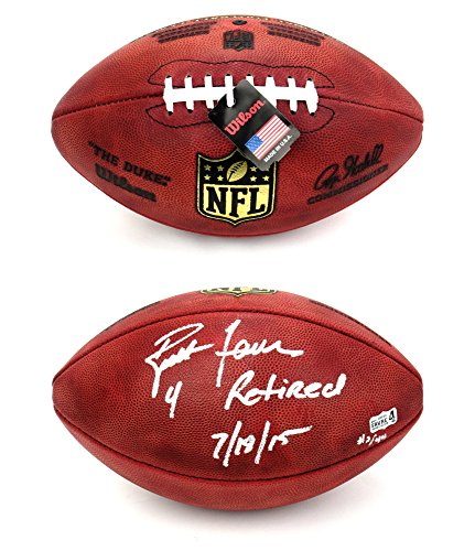 """Brett Favre Autographed/Signed Green Bay Packers Wilson Authentic Duke NFL Football with """"4 Retired 7/18/15"""" Inscription - LE of 44-0"""