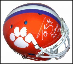 Tajh Boyd Autographed/Signed Clemson Tigers Schutt NCAA Mini Helmet with Career Stats Inscription-0