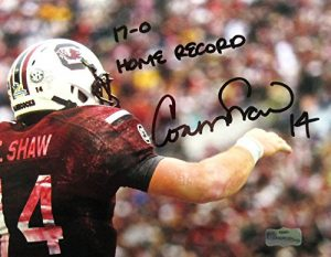 Connor Shaw Autographed/Signed South Carolina Gamecocks 8x10 NCAA Photo with 17-0 Home Record Inscription-0