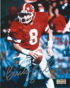 Buck Belue Autographed/Signed Vintage Georgia Bulldogs 8x10 NCAA Photo Red Jersey Silver Ink-0