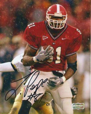 Leonard Pope Autographed/Signed Classic Georgia Bulldogs 8x10 NCAA Photo Raining-0
