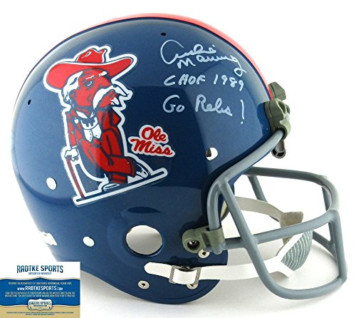 Archie Manning Autographed/Signed Ole Miss Rebels Throwback Full Size RK Suspension Helmet with quotCHOF 1989 - Go Rebs!quot Inscription - LE #1 of 18-0