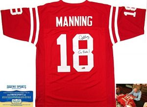 "Archie Manning Autographed/Signed Ole Miss Rebels Throwback Red Custom Collegiate Jersey with ""Go Rebs!"" Inscription-0"