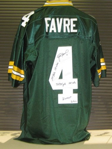 77e0486953a Brett Favre Autographed/Signed Green Bay Packers Reebok Jersey with Career  Stats LE /444