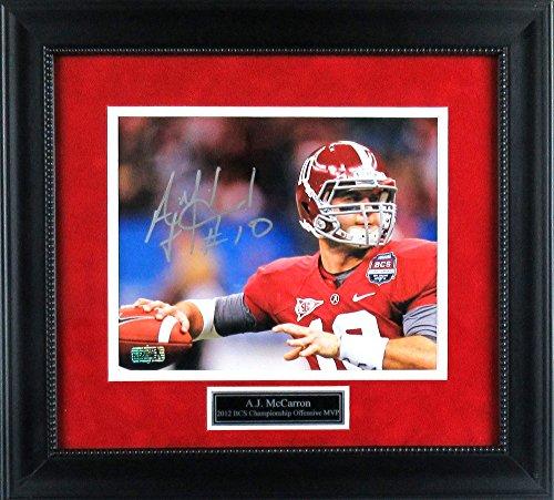 AJ McCarron Autographed/Signed Alabama Crimson Tide Framed 8x10 NCAA Photo - Red Jersey-0