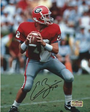 Eric Zeier Autographed/Signed Classic Georgia Bulldogs 8x10 NCAA Photo Red Jersey-0