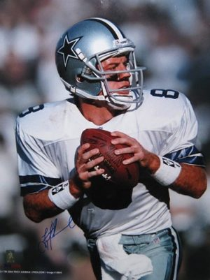 "Troy Aikman Autographed/Signed Dallas Cowboys 16x20 NFL Photo ""Dropping Back""-0"