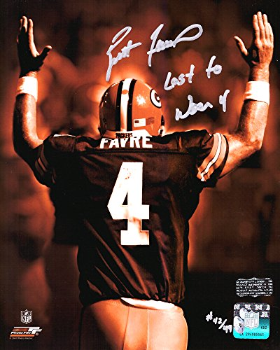 "Brett Favre Autographed/Signed Green Bay Packers Iconic 8x10 NFL Photo with ""Last to Wear 4"" Inscription - LE of 44-0"