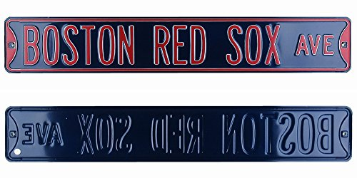 Boston Red Sox Avenue Officially Licensed Authentic Steel 36x6 Navy Blue & Red MLB Street Sign-0