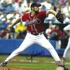 John Smoltz Autographed/Signed Atlanta Braves Vertical 8x10 MLB Action Photo - Red Jersey-0