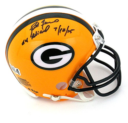 "Brett Favre Autographed/Signed Green Bay Packers Riddell NFL Mini Helmet with ""4 Retired 7/18/15"" Inscription - LE of 44-0"