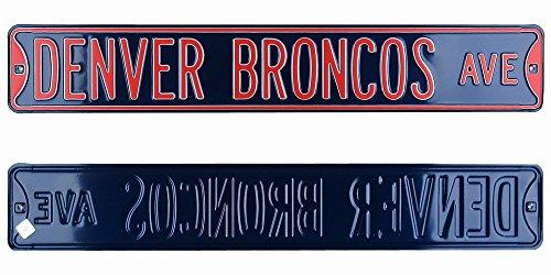 Denver Broncos Avenue Officially Licensed Authentic Steel 36x6 Navy Blue & Orange NFL Street Sign-0