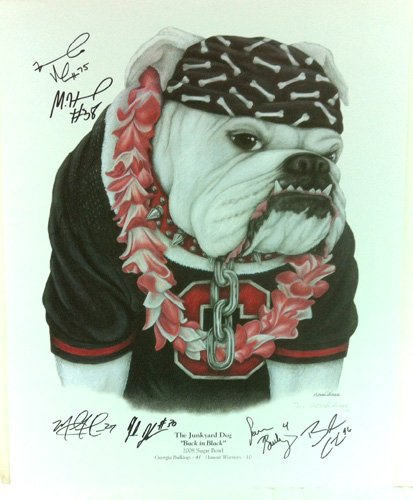 "Georgia Bulldogs Multi-Autographed/Signed ""The Junkyard Dog: Back In Black"" Print with 6 Signatures-0"