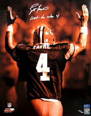 "Brett Favre Autographed/Signed Green Bay Packers Iconic 16x20 NFL Photo with ""Last to Wear 4"" Inscription - LE of 44-0"