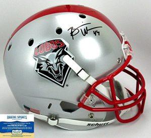 Brian Urlacher Autographed/Signed New Mexico Lobos Schutt Full Size NCAA Helmet-0