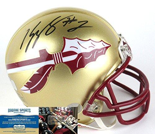 Kelvin Benjamin Autographed/Signed Florida State Seminoles Riddell Gold NCAA Mini Helmet-0