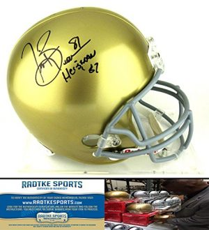 "Tim Brown Autographed/Signed Notre Dame Fighting Irish Riddell Full Size NCAA Helmet with ""Heisman 87"" Inscription-0"