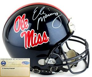 Eli Manning Autographed/Signed Ole Miss Rebels Riddell Authentic Proline NCAA Helmet - Steiner-0