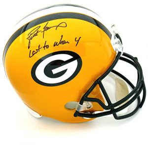 "Brett Favre Autographed/Signed Green Bay Packers Riddell Full Size NFL Helmet with ""Last to Wear 4"" Inscription - LE of 44-0"
