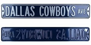 Dallas Cowboys Avenue Officially Licensed Authentic Steel 36x6 Navy & Silver NFL Street Sign-0