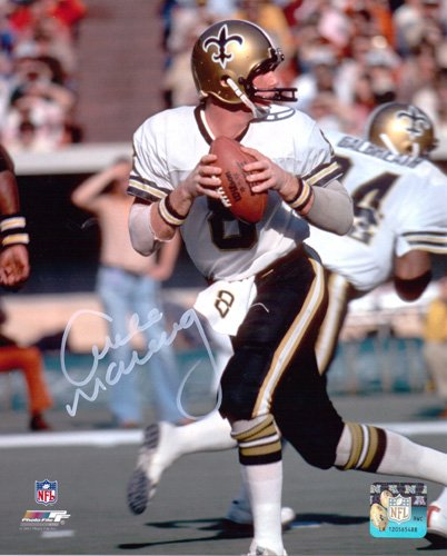 Archie Manning Autographed/Signed New Orleans Saints 8x10 NFL Photo Dropping Back-0