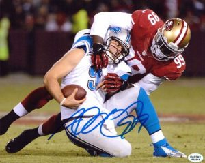 Aldon Smith Signed San Francisco 49ers 8x10 Photo Sacking Stafford-0