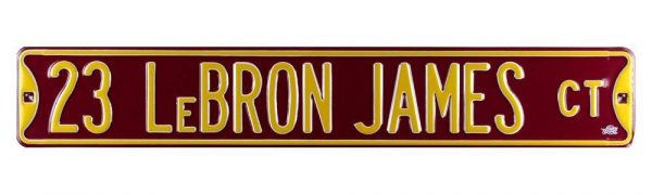 LeBron James Court Officially Licensed Authentic Steel 36x6 Maroon & Yellow NBA Street Sign-29892
