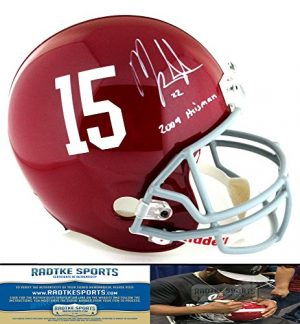 Mark Ingram Autographed/Signed Alabama Crimson Tide Riddell Full Size NCAA Helmet with quot2009 Heismanquot Inscription-0