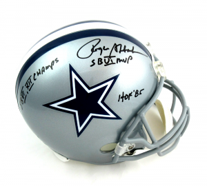 "Roger Staubach Signed Dallas Cowboys Riddell Full Size NFL Helmet with ""SB VI, XII Champs - SB VI MVP - HOF 85"" Inscription-0"