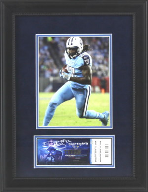 "Derrick Henry Signed Tennessee Titans Framed 21x17 Ticket with ""First Touchdown"" Inscription-0"
