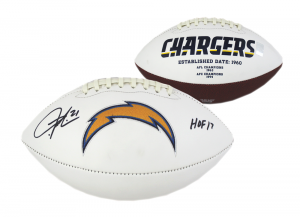 """LaDainian Tomlinson Signed NFL San Diego Chargers Embroidered Football with """"HOF 17"""" Inscription-0"""