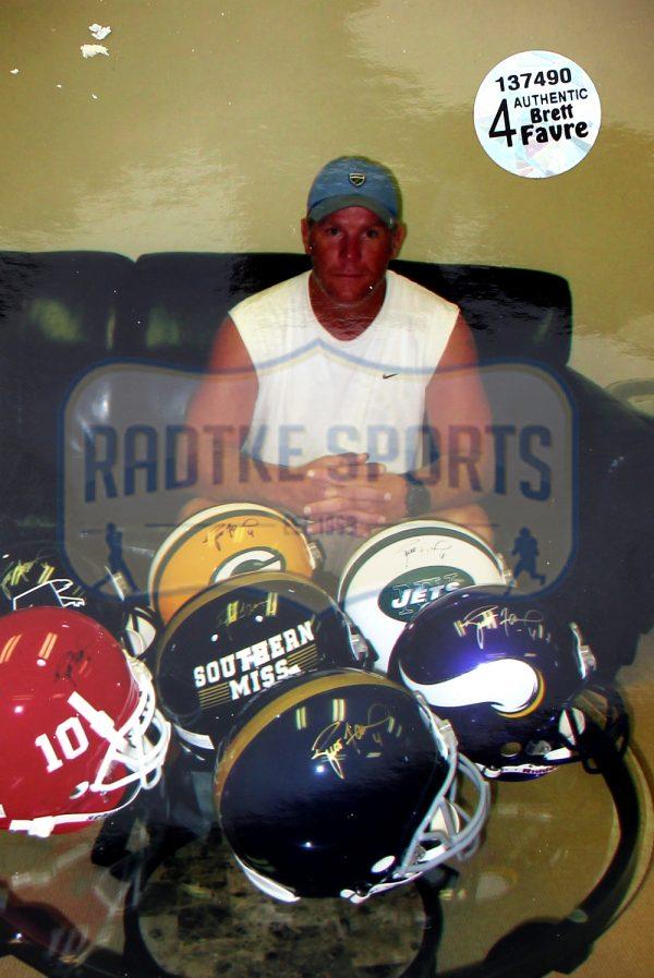 Brett Favre Signed Hancock High School Schutt Full Size Helmet-25978