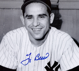 Yogi Berra Signed New York Yankees Black and White 8x10 Photo - Hands Folded-0