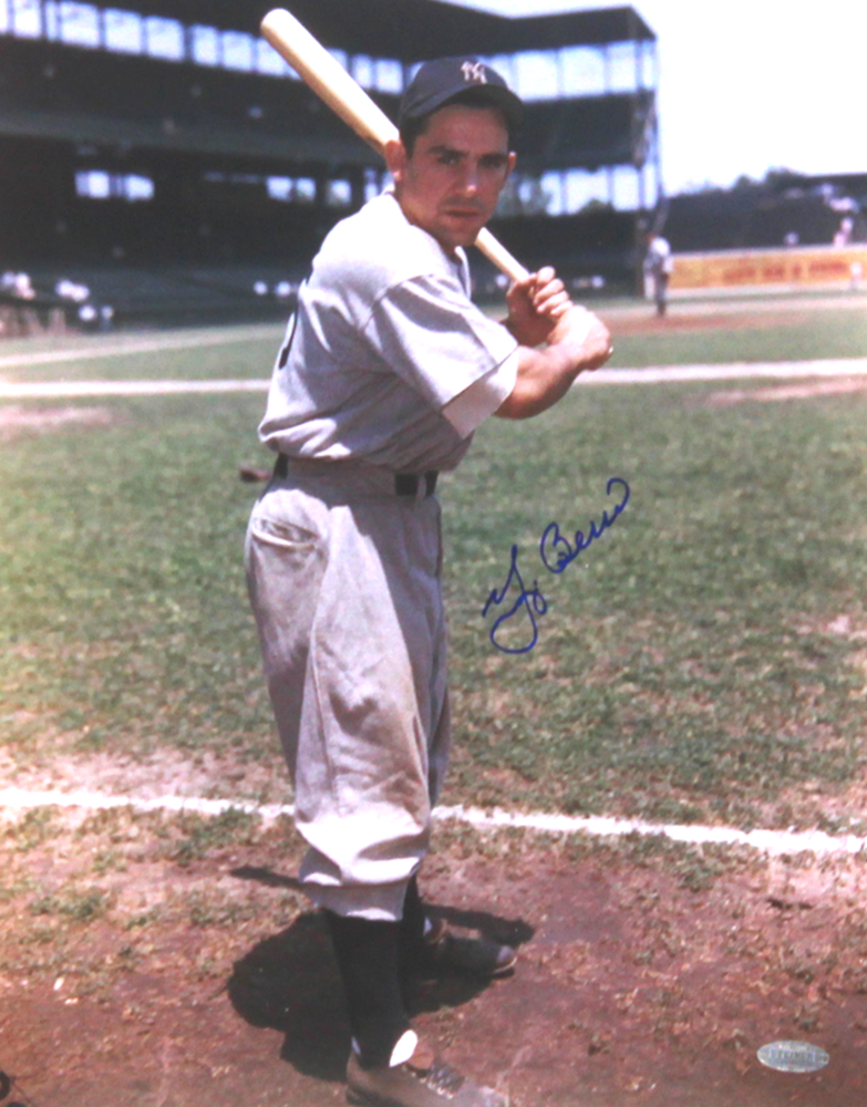 6be48f4e52f Yogi Berra Signed New York Yankees Color 11x14 Photo - Batting Stance-0